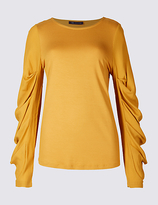 M&S Collection Round Neck Ruched Sleeve T-Shirt