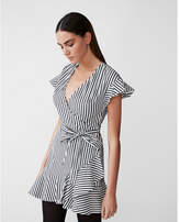 Express striped ruffle fit and flare dress