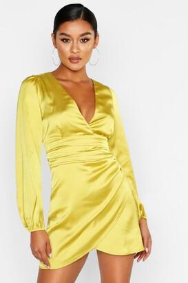 boohoo Satin Wrap Detail Mini Dress