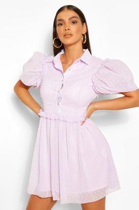 boohoo Puff Sleeve Button Down Skater Dress