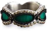 Armenta New World Teal Mosaic Scalloped Band Ring with Champagne Diamonds