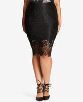 City Chic Trendy Plus Size Lace Pencil Skirt