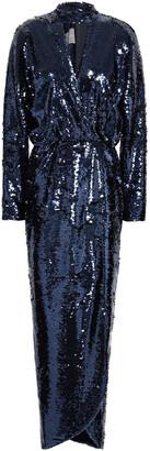 Monique Lhuillier Wrap-effect Cutout Sequined Tulle Gown