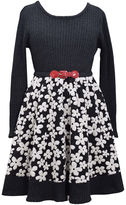 Bonnie Jean Long-Sleeve Belted Floral Skater Dress - Girls 7-16