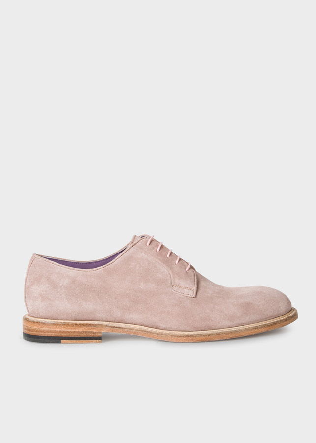 Paul Smith Men's Pastel Pink Suede Leather 'Gale' Derby Shoes