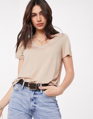 Vero Moda v neck t-shirt in beige