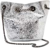 Deux Lux Women's Crinkle Metallic Crossbody Bucket Bag