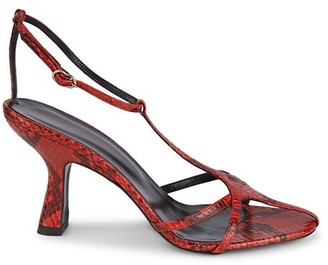 Simon Miller Star Snakeskin-Embossed Leather T-Strap Sandals