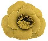 Chanel Green Camellia Flower Brooch Pin