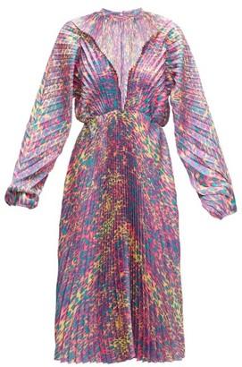 Vetements Pleated Leopard-print Satin-twill Dress - Womens - Pink Multi