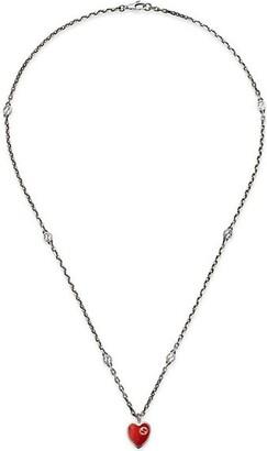 Gucci GG Hearts Sterling Silver & Enamel Pendant Necklace