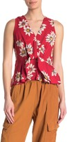 Angie Floral Twisted Front Peplum Top