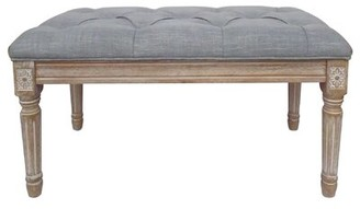 Ophelia & Co. Whitt Christies French Upholstered Bench Upholstery: Gray, Color: Natural Wood