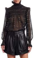 Saint Laurent Georgette Metallic Smocked Blouse