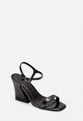 Missguided Black Patent Faux Croc Flared Heel Sandals