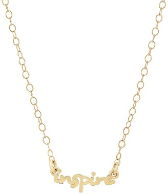 Elliot Young Fine Jewelry 14K Gold Use Your Words Cursive Inspire Necklace