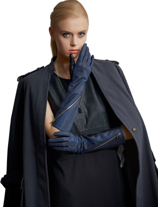 Fioretto Womens Long Gloves 100% Genuine Sheepskin Leather Gloves Luxury Crocodile Pattern With Zipper