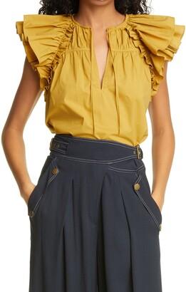 Ulla Johnson Liv Ruffle Short Sleeve Cotton Blouse