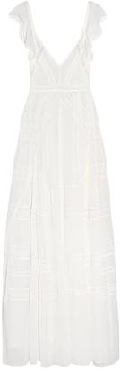Needle & Thread Bridal Crochet-paneled Silk-crepe Gown