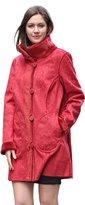Adelaqueen Women's Lush Faux Suede Faux Fur Coat Floral Print Reversible Coat Size M
