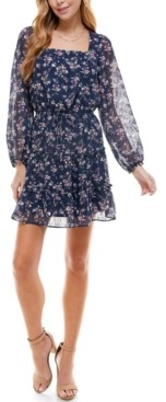 Crystal Doll Juniors' Square-Neck Ruffled Dress