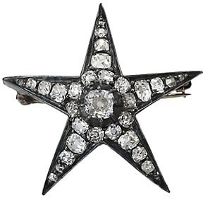 Renee Lewis Sterling Silver, 18K Yellow Gold & Antique Diamond Star Brooch