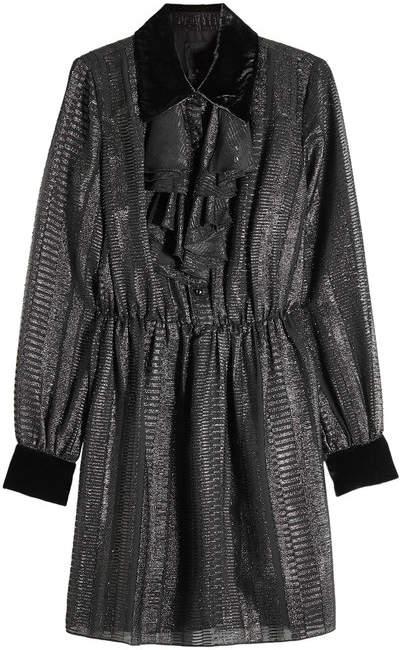 Anna Sui Dress with Metallic Thread and Velvet