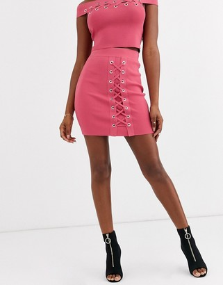 Asos DESIGN co-ord eyelet knitted mini skirt