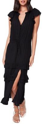 Paige Illyria Ruffle Trim Midi Dress