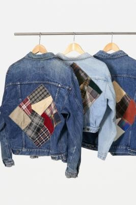 Urban Renewal Vintage Remade From Vintage Patched Light Wash Denim Jacket - Blue XS at Urban Outfitters