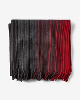 Express fringed ombre stripe merino wool scarf