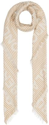 Burberry Logo Stripe Jacquard Silk & Wool Scarf