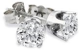 14k White Gold Brilliant Round Cut Diamond Stud Earrings 2 Carats