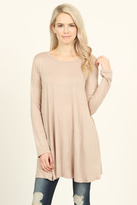 Riah Fashion Long-Sleeved Solid Tunic-Top