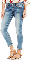 Miss Me Floral Cuffed Frayed Hem Stretch Ankle Skinny Jeans