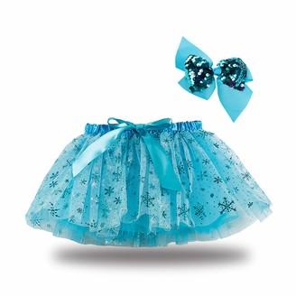 ZZLBUF Baby Girl Mini Skirt Summer Mesh Dance A-Line Skirt Cute Star Patterns Elastic High Waist Bubble Skirt with Bowknot (Blue S)