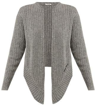 Miu Miu Tie-front Wool Cardigan - Womens - Grey