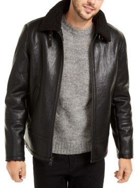 Calvin Klein Men's Faux Leather Shearling Motorcycle Jacket, Created for Macy's