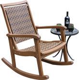 OUTDOOR INTERIORS Outdoor Interiors Resin Wicker and Eucalyptus Rocker Chair