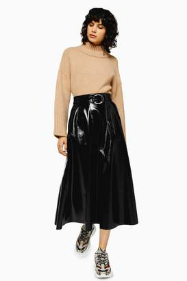 Topshop Black Full Circle Faux Leather Vinyl Midi Skirt