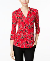 Charter Club Floral-Print V-Neck Top, Only at Macys