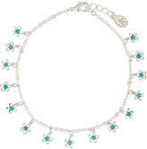 Accessorize Pretty Turquoise Flower Drops Anklet