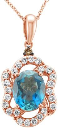 LeVian Le Vian 14K Strawberry Gold, Blue Topaz, Chocolate Diamond & Nude Diamond Pendant Necklace
