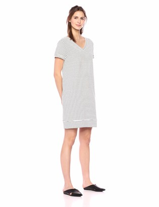 Daily Ritual Amazon Brand Women's Terry Cotton and Modal Short-Sleeve V-Neck Dress
