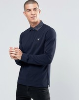 Armani Jeans Polo Shirt With Denim Collar In Navy Long Sleeves