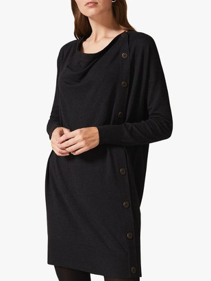 Phase Eight Bailie Button Knit Dress, Charcoal