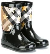 Burberry star House Check rain boots - kids - Cotton/rubber - 30