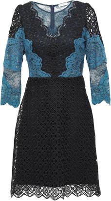 Sandro Belladone Paneled Scalloped Lace Mini Dress
