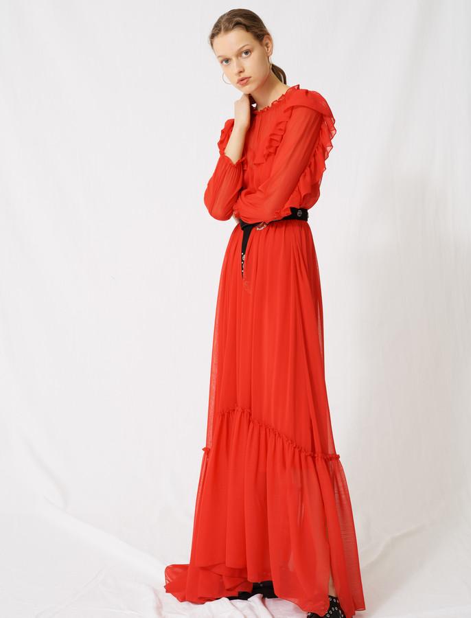 Maje Long dress with ruffles