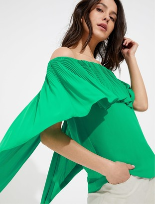 Halston Off shoulder pleated silky georgette top